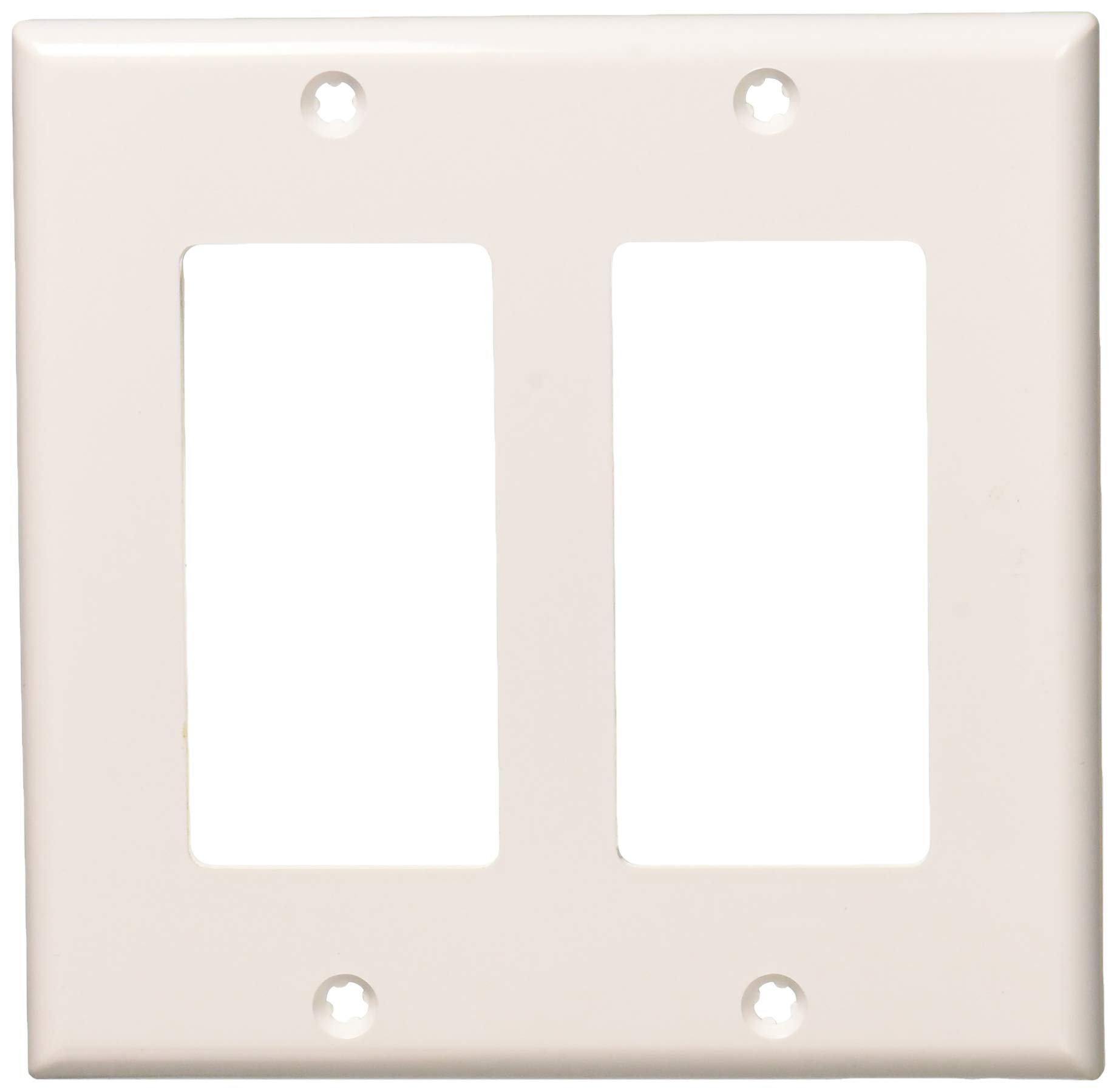 Leviton 80409-NW 2-Gang Decora/GFCI Device Decora Wallplate, Standard Size, White, 25-Pack