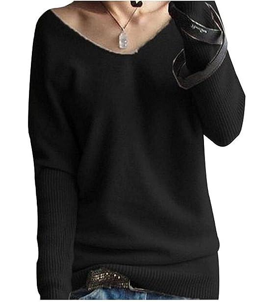 c228d22c1239 Eagsouni® Oversize Damen Strickpullover V-Neck Sexy Sweatshirt Soft Kaschmir  Pullover Basic Langarm Shirt