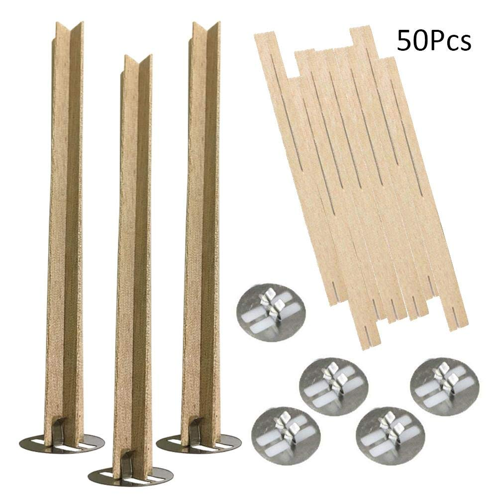 Depruies 50Pcs Natural Candle Cores Cross Wooden Candle Wicks with Metal Base for Candle Making DIY Craft