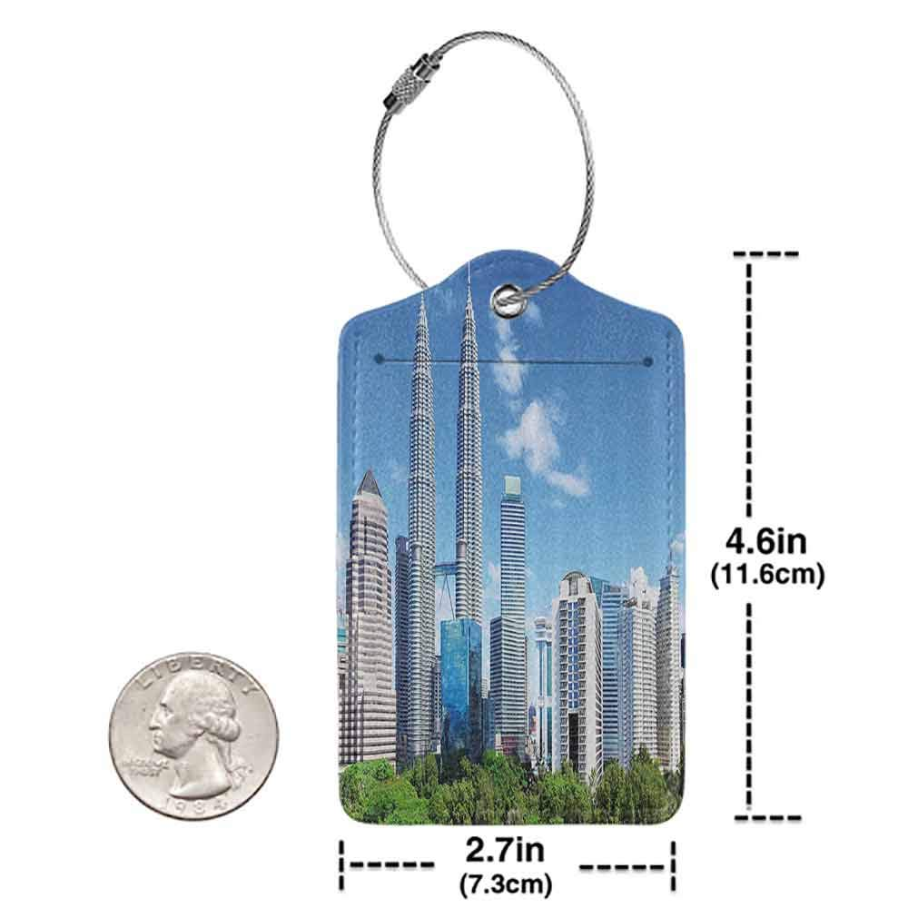 Waterproof luggage tag Urban Malaysian Kuala Lumpur Skyline Skyscrapers Capital City Corporate Panorama Soft to the touch Sky Blue Light Grey W2.7 x L4.6