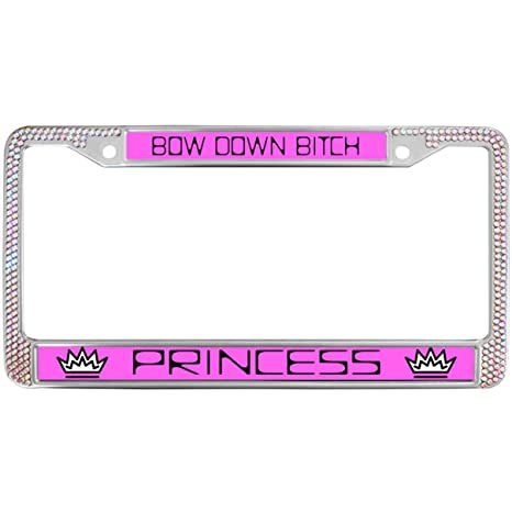 New Purple Glitter Crystal Rhine Stone Diamond License Plate Frames for US Cars