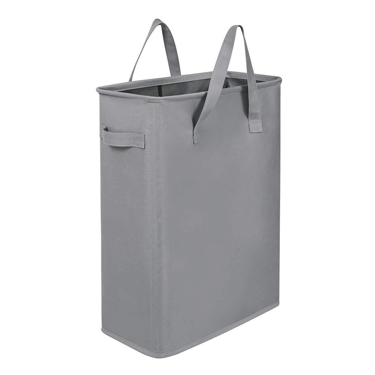 Chrislley Slim Laundry Basket Hamper Handy Foldable Bag Handle Collapsible Oxford Cloth Basket Bin Organizer 44.5L(Grey)