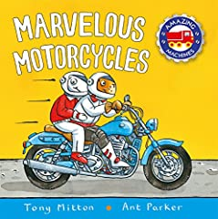 Introduces young readers to motorcycles, discussing their parts, how they operate, and different types of motorcycles and their uses, including touring motorcycles, sport bikes, and dirt bikes.