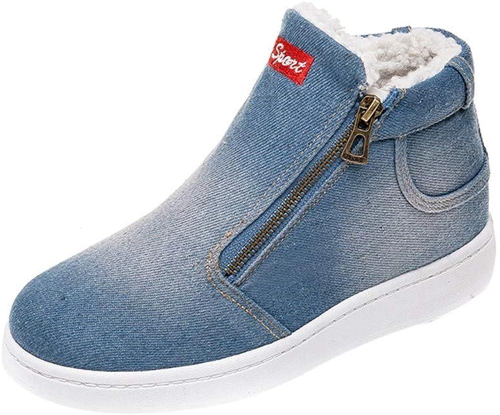 COPPEN Women Snow Boots Denim Zipper Thick Warm Winter Flat Round Toe Shoes