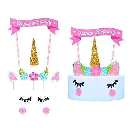 Unicorn Cake Topper 1st Birthday Wedding Toppers Set Cute Gold Glitter Reusable Horn Ears