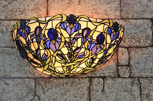 16-inch Vintage Pastoral Stained Glass Tiffany Flowers Wall Lamp Hallway Wall Sconce Lamp Fixture