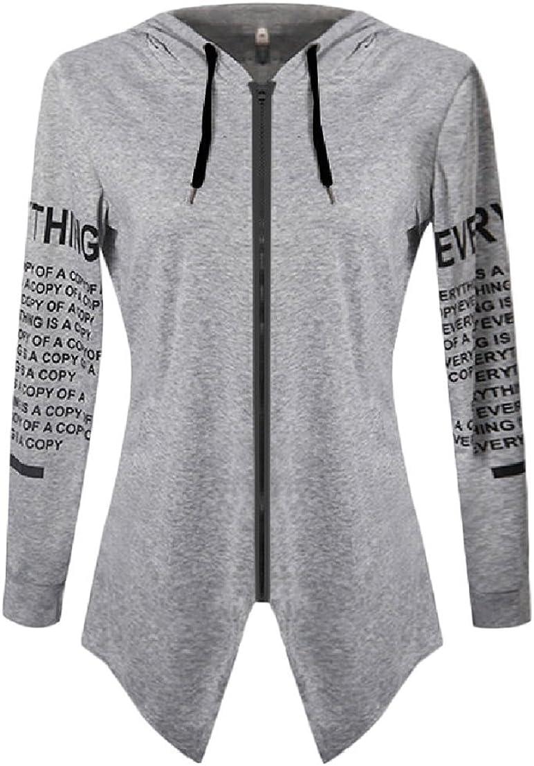 BAYY Womens Long-Sleeve Zip Cut Out Printed Hoode High Low Tops Coat