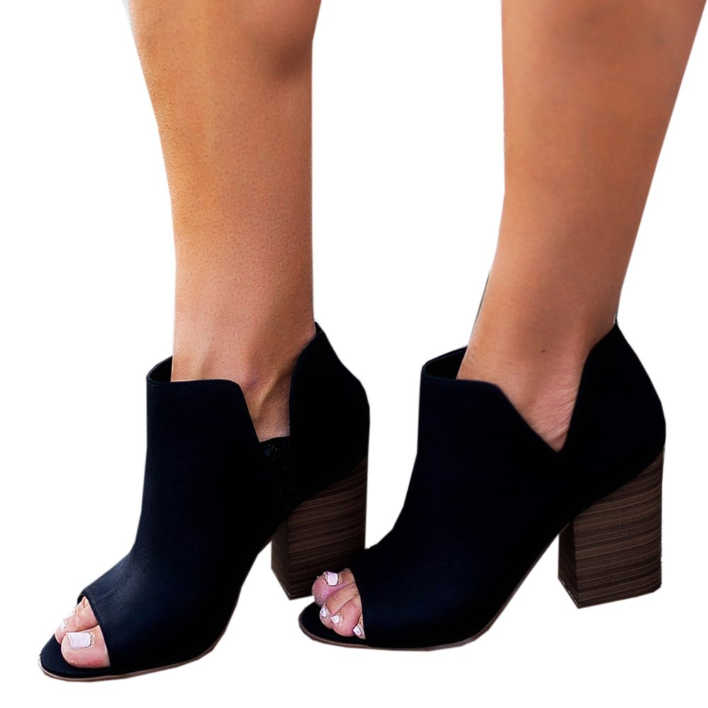 99682745a47a8 Nulibenna Womens's Casual Peep Toe Bootie Low Stacked Chunky Heel Open Side  Ankle Boot