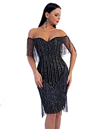 b64a42eac22 Miss ord Women Off Shoulder Bustier Stripe Tassel Glitter Party Dress  (XSmall