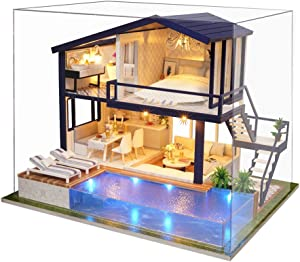 MAGQOO Romantic Cute Dollhouse Miniature DIY House Kit Creative Room with Furniture Christmas Valentine's Gifts(Time Apartment with Music Box & Dust Proof)
