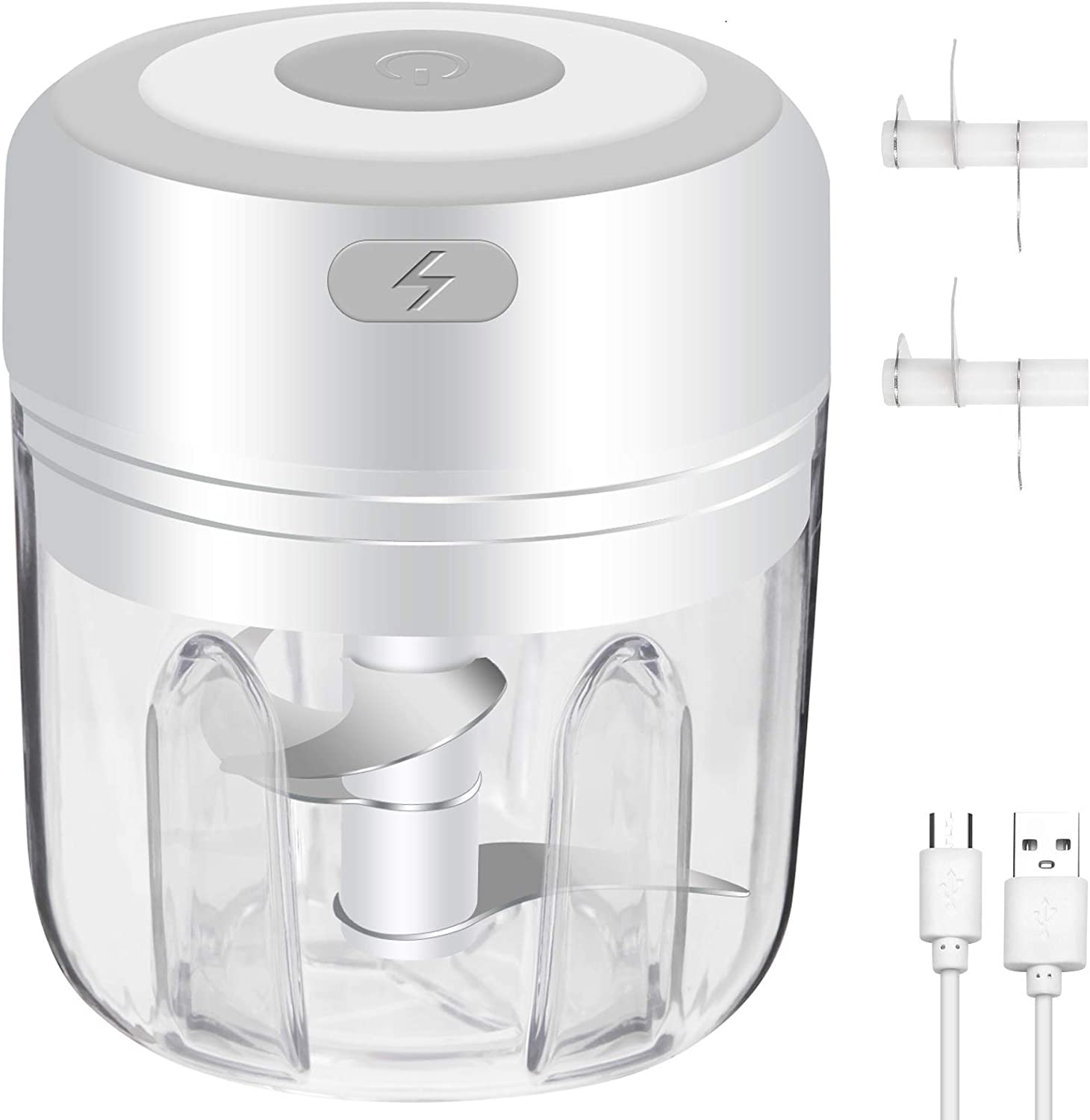 Mini Electric Garlic Chopper, Powerful Mini Food Chopper Mini Baby Food Processor Palm-sized Blender for Beef/Fruits/Vegetables/Garlic/Onion- 2 Blades Included (250ml/ 8.4oz)
