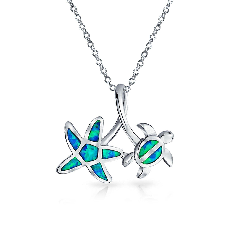 Creado Azul N/áutico Opal Inlay Estrella Del Mar Colgante Collar De Tortugas Para Mujer Para Adolescente 925 Plata De Ley