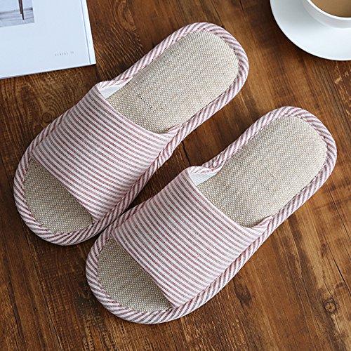 DogHaccd Zapatillas,Las sandalias de verano fresco, confortable ropa de cama de algodón sudor quedarse en casa un par de gruesos, suelo antideslizante cool zapatillas macho 6 rojo4