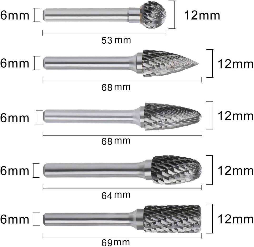 Wolframcarbid mit 6 mm Schaftfr/äser-Set TooTaci Hartmetall-Fr/ässtifte 5 St/ück 12 mm Drehspitze