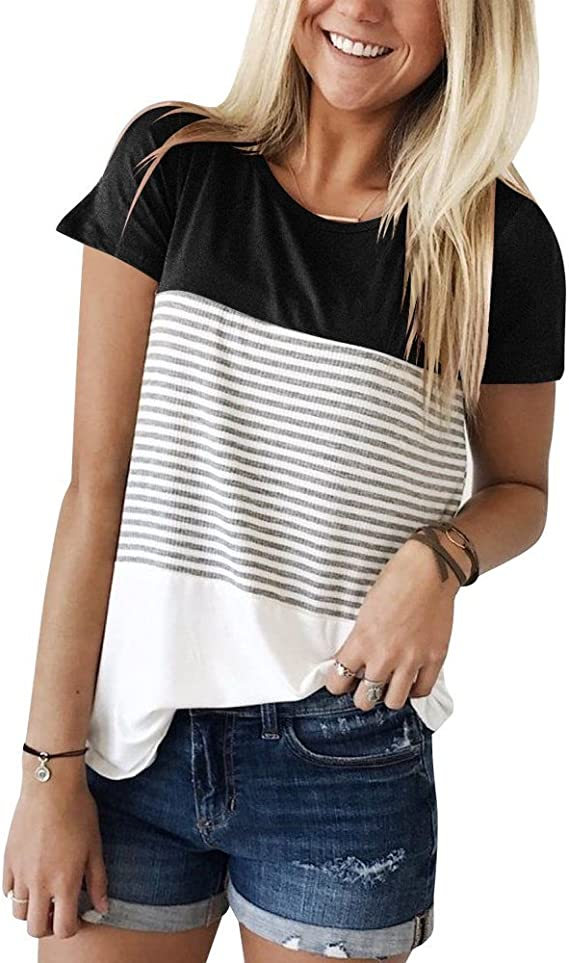 Womens Short Sleeves Crew Neck Striped Tee Casual Top Shirt 8C