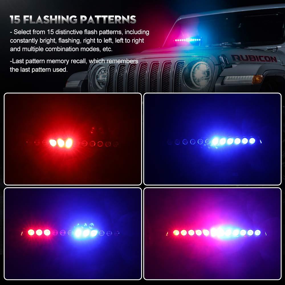 12 voltios Rojo y azul Calevin Hazard Warning LED Luz estrobosc/ópica 15 modos intermitentes Barra de luz de baliza de emergencia con enchufe para encendedor de cigarrillos con cable extensible