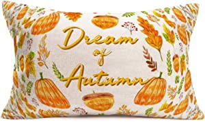 Asamour 12x20 Inch Fall Pumpkin Leaves Farmhouse Decor Pillow Covers Dream of Autumn Quote Saying Cotton Linen Throw Pillow Case Cushion Cover Halloween Thanksgiving Decorations for Sofa Couch Bedroom