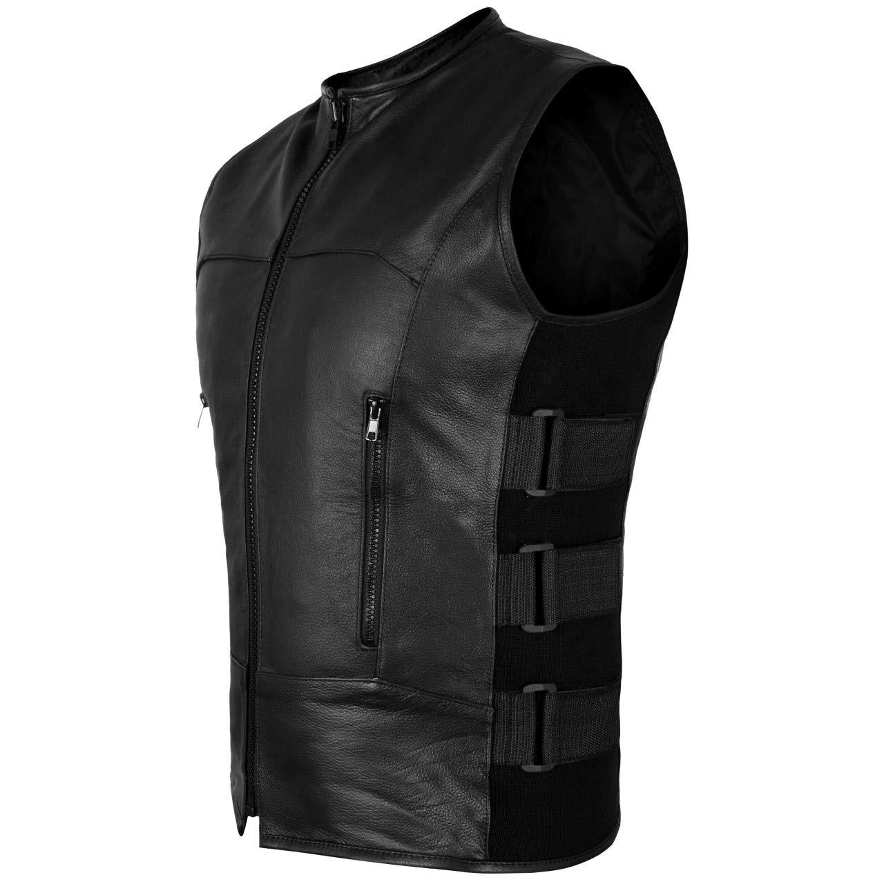XL 2Fit Mens Swat Motorcycle Biker Leather Vest with Adjustable sides