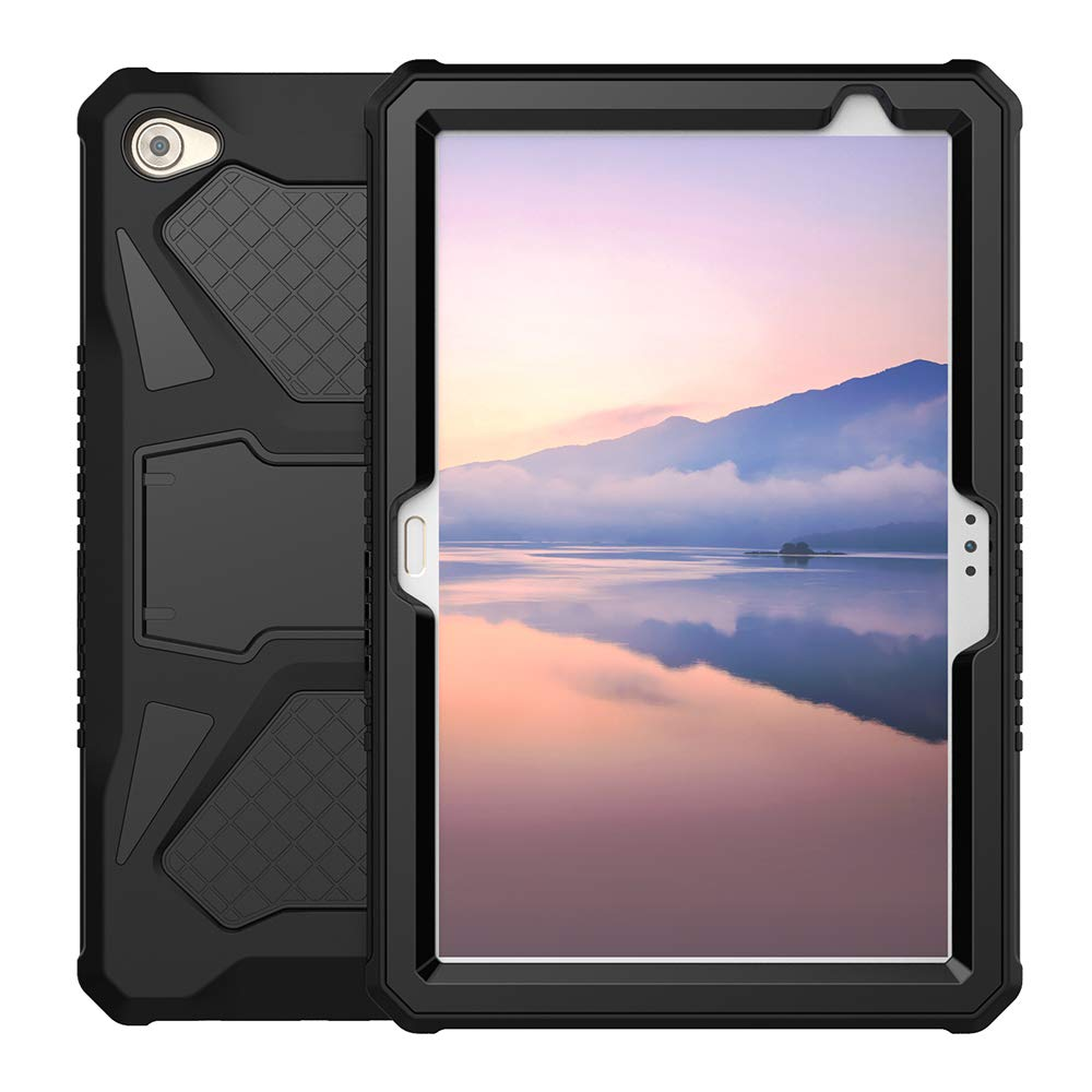 Foluu Compatible with Huawei MediaPad M5 Lite 10 Case, Heavy Duty Ultra Hybrid Silicone Hard PC Bumper Full-Body Protective Shockproof Cover with ...