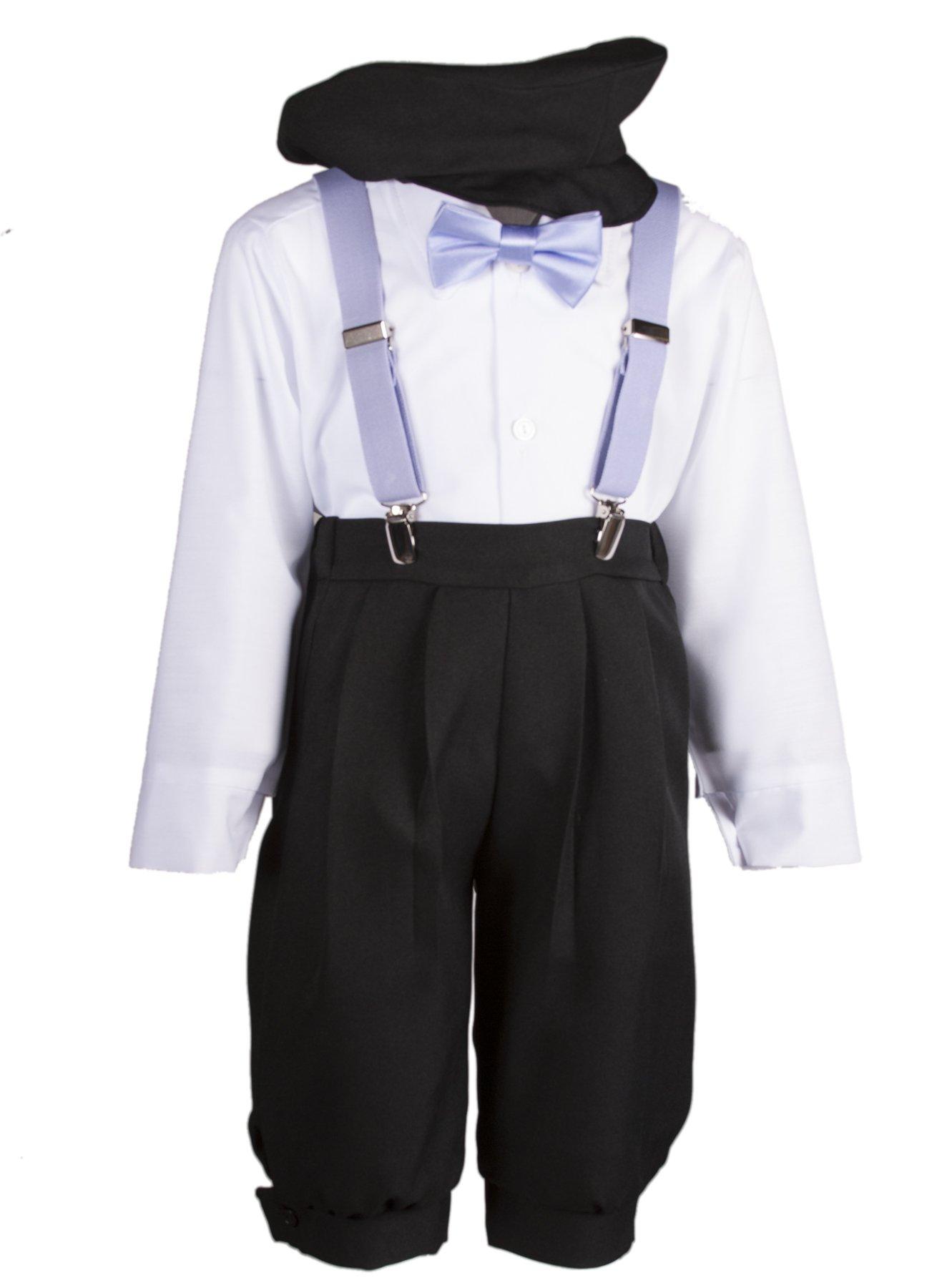 Boys Black Knickers Set Pageboy Cap Lavender Suspenders & Bow Tie (8 Boys)