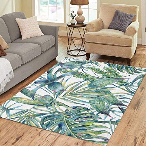 Semtomn Area Rug 5' X 7' Natural Leaves Exotic Watercolor Green Tropical Fern Dense Jungle Home Decor Collection Floor Rugs Carpet for Living Room Bedroom Dining Room