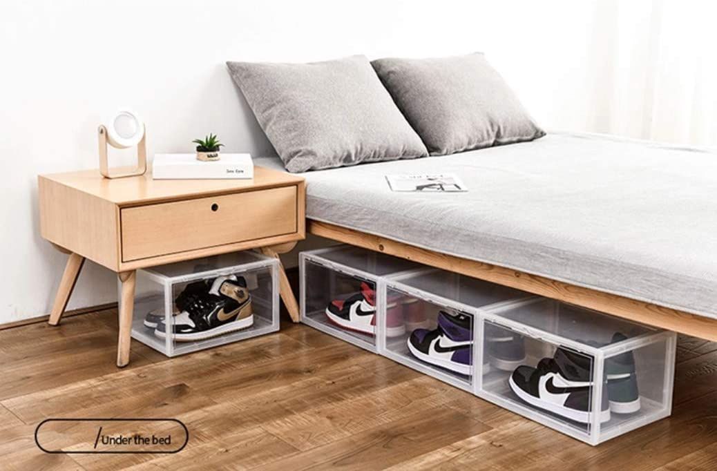 Magnetic Lid and Durable Polystock Shoe Storage Box for Organization and Sneaker Display Stackable Transparent