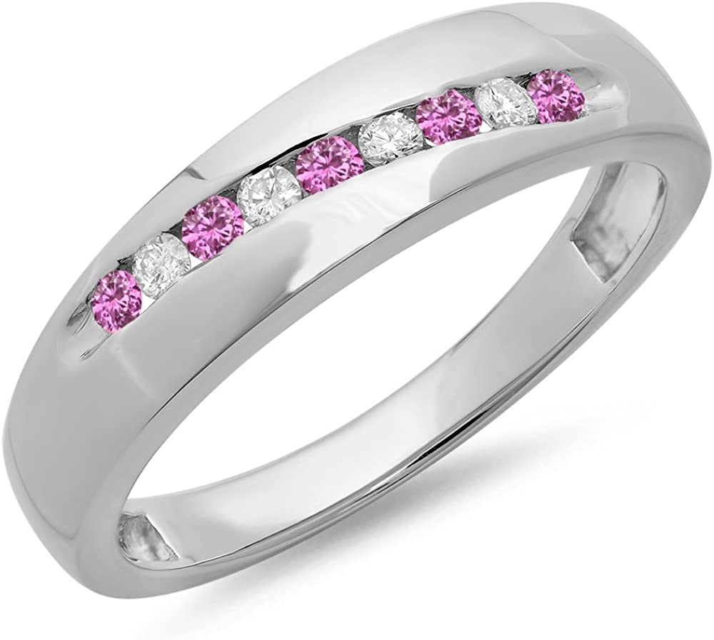 Dazzlingrock Collection Round Cut Pink Sapphire /& White Diamond Mens Stackable Anniversary Wedding Band Sterling Silver