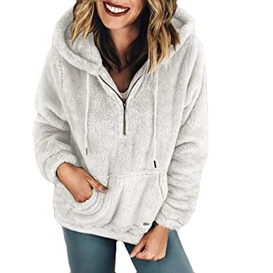 TOTOD Tops for Women, Womens Plush Autumn Winter Long Sleeve Pure Color Fashion Coat Pocket Long Hoodies at Amazon Womens Clothing store: