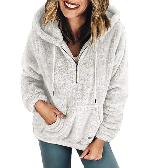 Logobeing Chaqueta Suéter Abrigo de otoño Jersey Mujer Invierno Peluche Abrigo Largo de Bolsillo Capa: Amazon.es: Ropa y accesorios