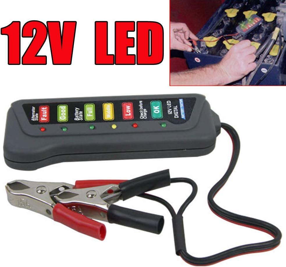 RENNICOCO 12V Auto Car Digital Battery Alternator Tester 6 LED Lights Display Diagnostic Tool for Cars Motorcycle Batteries,Battery Car Motorcycle Yacht Battery Car Battery Detector Electric Detector