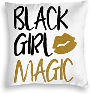 Emkoie Throw Pillow Covers Black Girl Magic Decorative Home Decor Pillow Cases Cushion Covers for Couch Sofa Bed 18x18 Inch