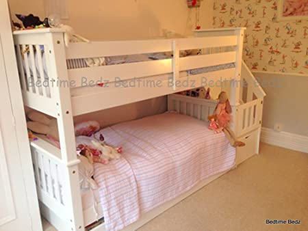 Paint Your Life Letto A Castello.Bedtime Bedz Chester White Staircase Bunk Bed Amazon Co Uk