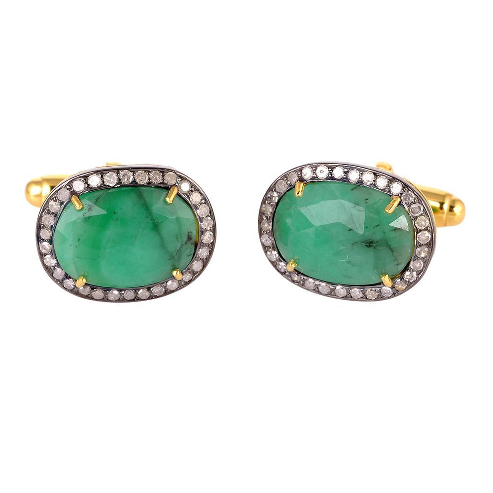 Christmas Gift !! 6.8ct Emerald Diamond 14kt Solid Gold Silver Cufflinks Jewelry
