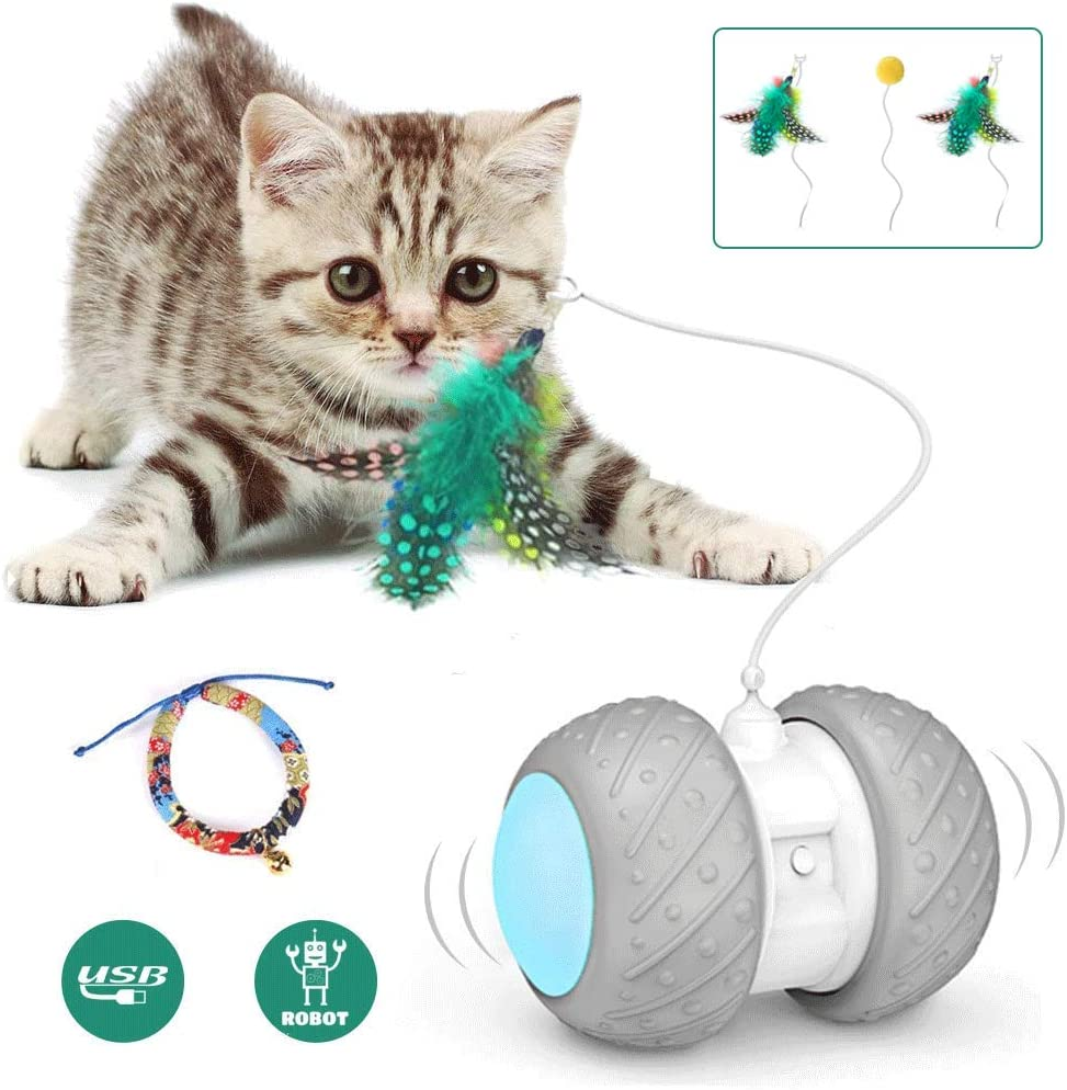 Interactive Robotic Cat Toys,Automatic Irregular USB Charging 360 Degree Self Rotating Ball,Automatic Feathers/Birds/Mouse Toys for Cats/Kitten,Build-in...