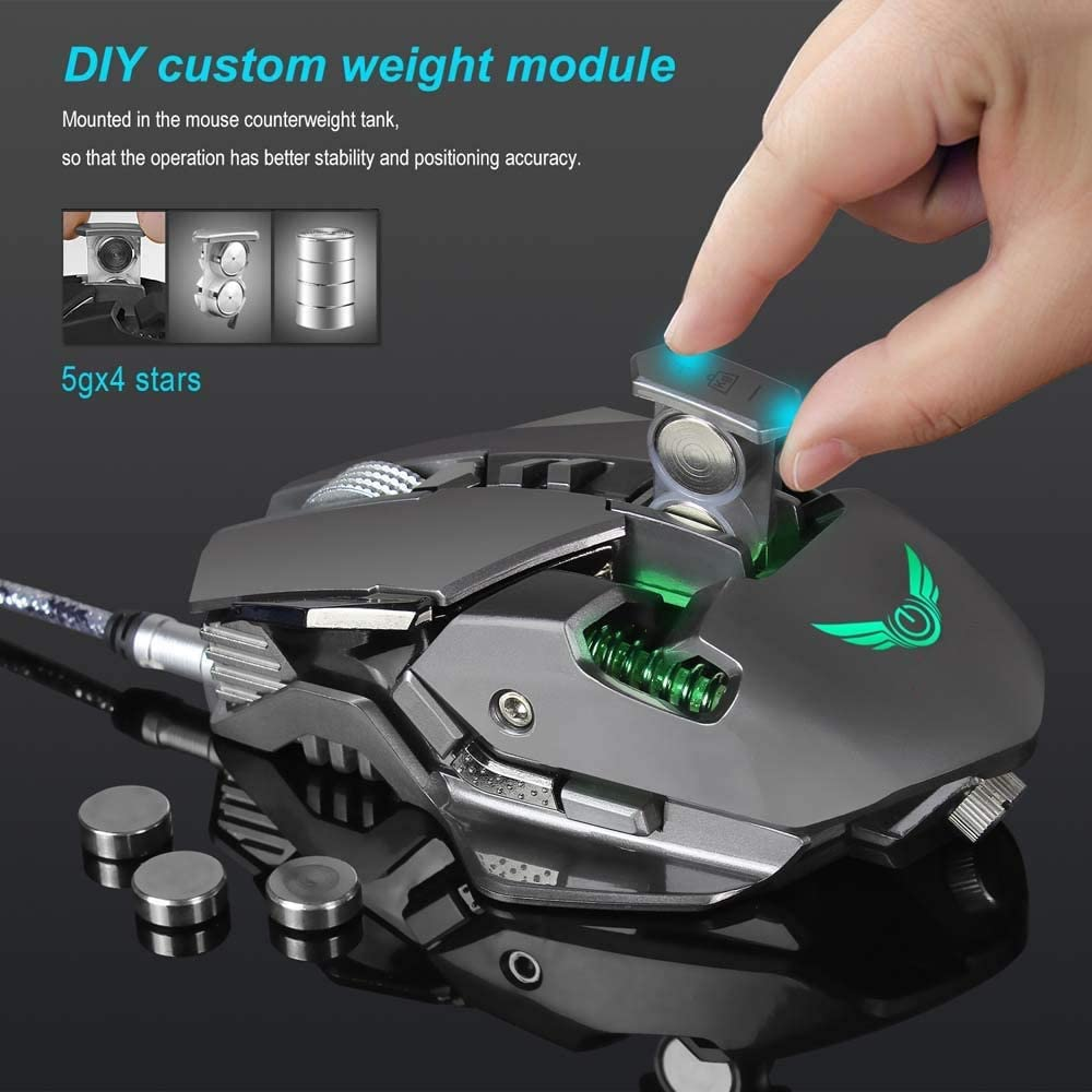 White High Speed TONGZHENGTAI Mouse A3050 Chip 3200dpi7 Key Macro Definition LED Variable Loose Effect Gaming Mouse Ergonomic Design Adjustable DPI Tenacious Life