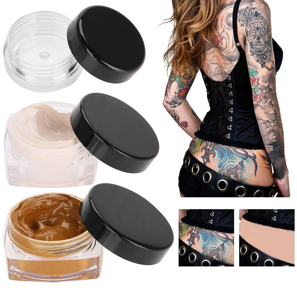 Tattoo Concealer, Upgrade Professional Waterproof Skin Camouflage Cream Scar Hiding Tattoo Cover Up Makeup for Vitiligo Spots Birthmarks by Semme