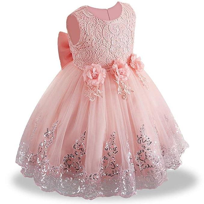 3e52ab23bca323 OBEEII Mädchen Pailletten Spitze Prinzessin Kleid Blumenmädchenkleider  Hochzeitskleid Maxikleid Brautjungfern Kleid Prinzessin Hochzeit Abendkleid  ...