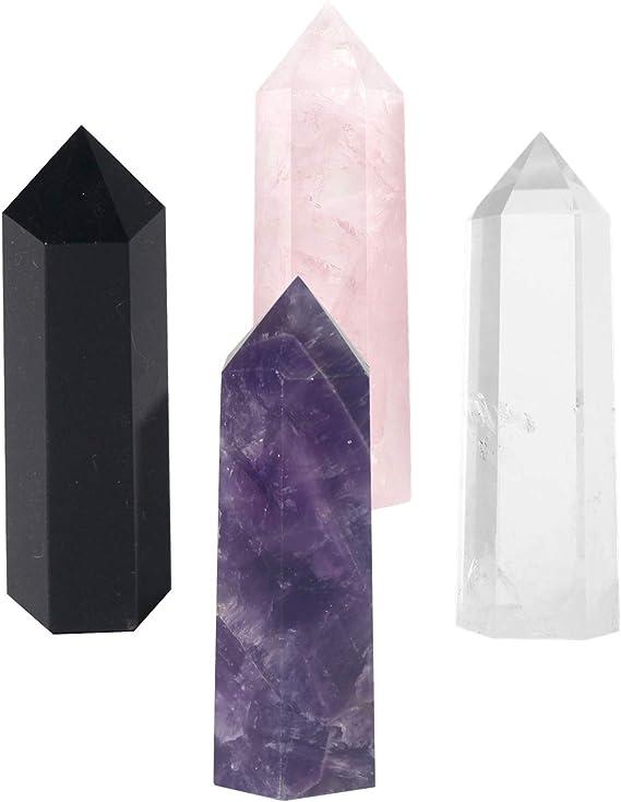 Black Hair Tourmaline Quartz Crystal Tower Obelisk Healing Point Wands 3pcs 2/'/'