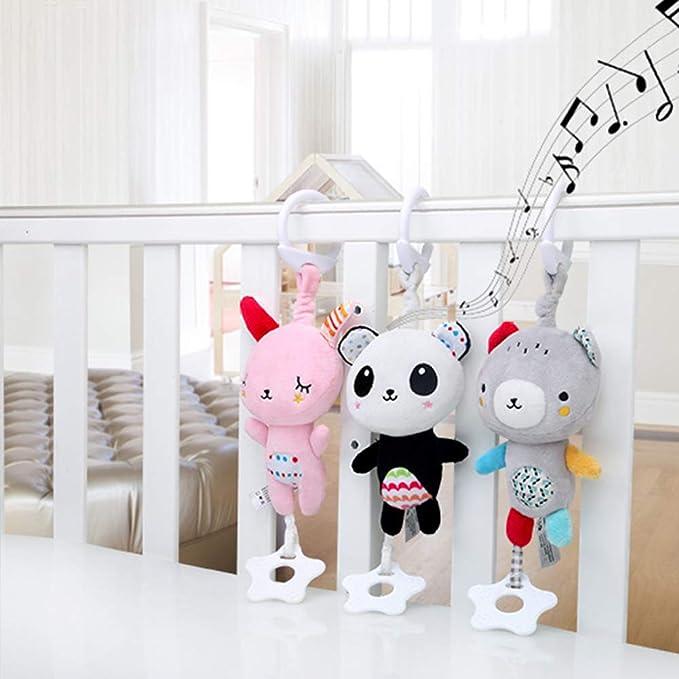 Graue Kleine B/är hou zhi liang Kinderwagen Sound Spielzeug Cartoon Tier Form H/ängende Glocke Mit Haken Kinder Ergreifen Entwicklung Pl/üschtiere Set Musical Krippe Mobiles