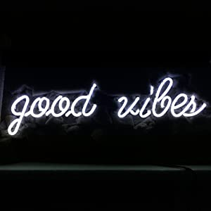 "LiQi ' Good Vibes ' Real Glass Handmade Neon Wall Signs for Home Decor Wall Light Room Decor Home Bedroom Girls Pub Hotel Beach Cocktail Recreational Game Room (19"" x 6"")"