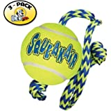 KONG Squeakair Tennis Ball with Rope Dog Toy, Medium, Yellow (Pack of 3)