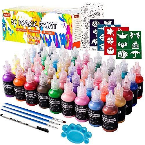 Fabric Paint, 45 Colors 3D Fabric Permanent Paint with 3 Brushes 1 Palette 1 Fabric Pen 1 Fabric sheet 4 Stencils, Glow in The Dark, Glitter, Metallic Colors for Textile Fabric T-Shirt Glass Wood