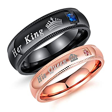 Keybella Couples Rings Her King His Queen Beauty Beast Wedding Band ...