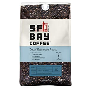 SAN FRANCISCO BAYBay Coffee DECAF Espresso Roast Whole Bean 2LB (32 Ounce) Dark Roast Natural Water Processed (7981)