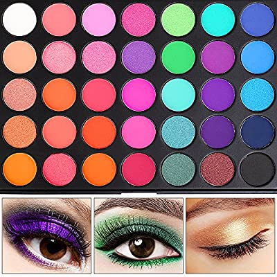 Eyeshadow Palette, 35 Bright Colors Matte Shimmer Eyeshadow Makeup Pallete - Long lasting and High Pigment Silky Powder Eye Shadow Cosmetics Set #35E