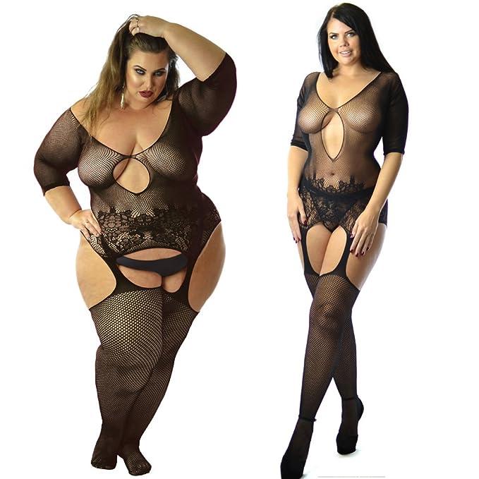 e6845daf46 Quality UK 6-26 Plus Sheer Dress Bridal Fishnet Bodystocking Lingerie Garter  Bodysuit Plus Size Curvy Ladies  Amazon.co.uk  Clothing