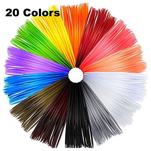 Meiso 3D Pen Filament Refills, 3D Printer ABS Filament 1.75mm, 20 Foot Lengths, 240 Linear Feet 3D Printing Filament, 20 Colors