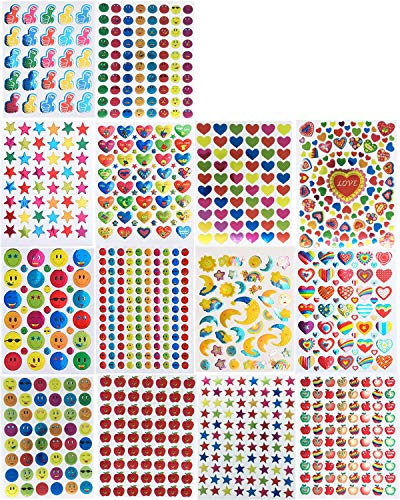 Kenkio 9530 Count Reward Stickers, Teacher Stickers for Kids Mega Variety Pack, Incentive Stickers for Teachers Classroom and School Bulk Use, Includes Smiley Face, Star, Heart,Moon, Apple ()
