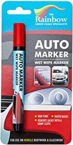 Car Paint Marker Pens Auto Writer Red - All Surfaces, Windows, Glass, Tire, Metal - Any Automobile, Truck or Bicycle, Water Based Wet Erase Removable Markers Pen