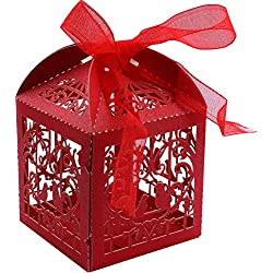 DriewWedding 50PCS Wedding Bridal Favor Gift Candy Boxes Case, Bird Style Hollow Wrap Boxs Bag Bomboniere with Ribbon Party Table Decor Kit Treat Box Chocolate Candy Wrappers Holders (Red)
